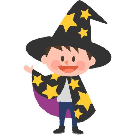 joyfulness: A vector illustration of a boy wearing halloween costumes Illustration