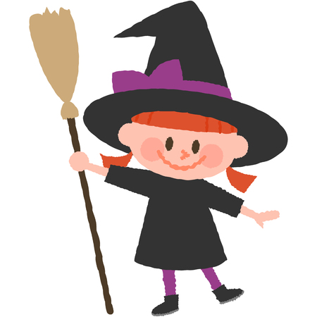 A vector illustration of a girl wearing halloween costumes  イラスト・ベクター素材