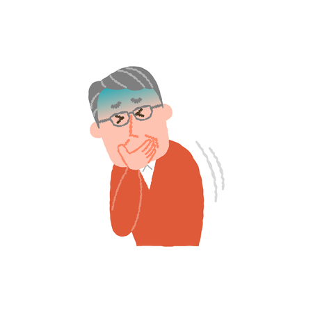 Vector illustration of an elderly man nauseated 写真素材 - 83386764