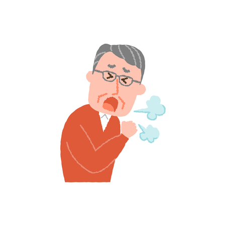 Vector illustration of an elderly man coughing