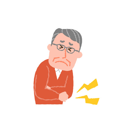 Vector illustration of an elderly man with stomach ache