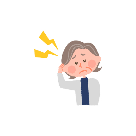 vector illustration of an elderly woman with headache