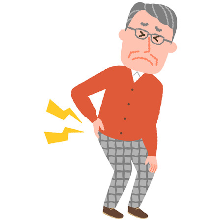 vector illustration of an elderly man with low back pain  イラスト・ベクター素材
