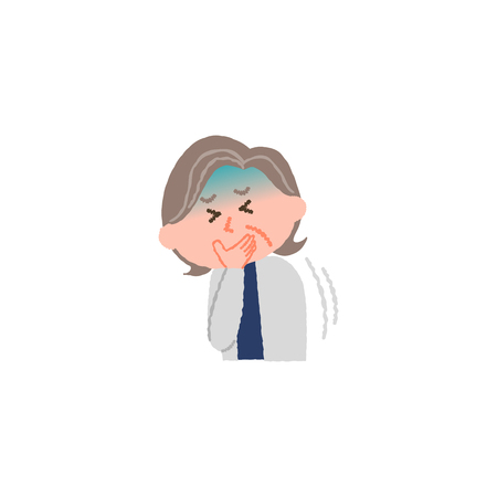 vector illustration of an elderly woman nauseated