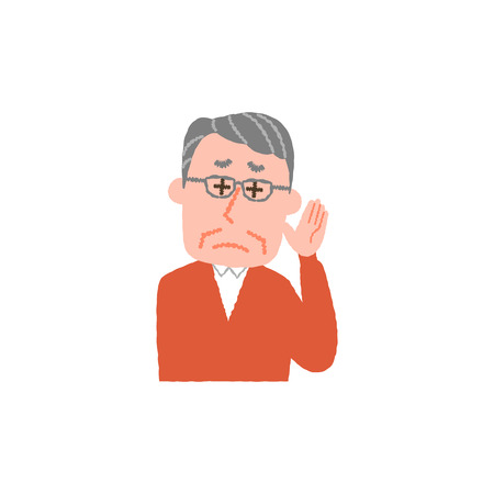 vector illustration of an elderly man hard to hear  イラスト・ベクター素材