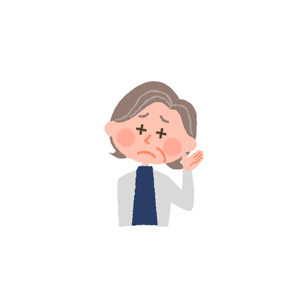 vector illustration of an elderly woman hard to hear  イラスト・ベクター素材