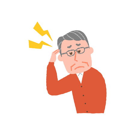 vector illustration of an elderly man with headache