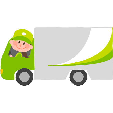 A vector cartoon illustration of a colorful delivery van with a woman driver. Illustration