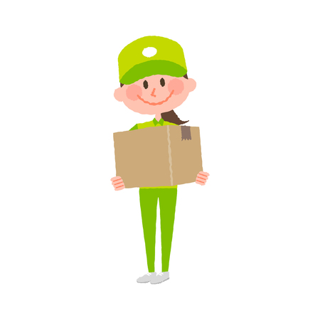 A vector cartoon illustration of a delivery woman carrying a cardboard box, isolated on white.