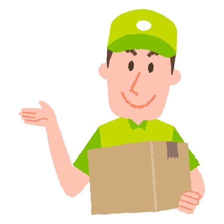 A vector cartoon illustration of a delivery man carrying a cardboard box, isolated on white.