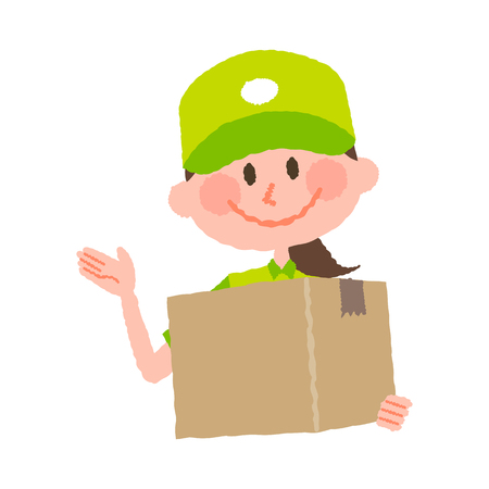A vector cartoon illustration of a delivery woman with a cap carrying a cardboard box