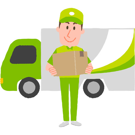 A vector illustration of a delivery man carrying a  cardboard box behind a cargo van.