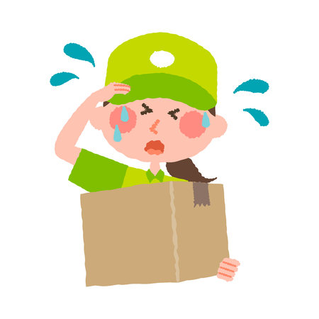 A vector illustration of a delivery woman with cap carrying a cardboard box on a sweating facial expression.