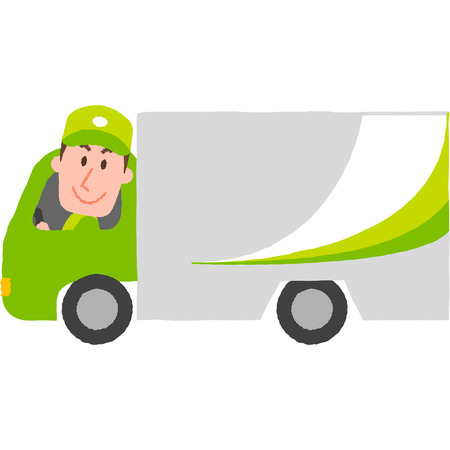 A vector illustration of a delivery cargo truck with a man in uniform and cap in a driver set.