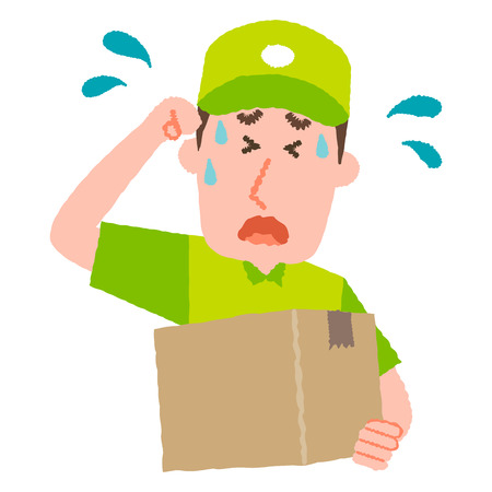 A vector illustration of a delivery man with cap carrying a cardboard box on a sweating facial expression.