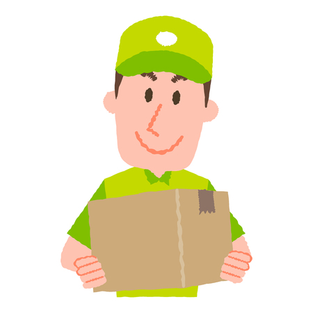 A vector illustration of a delivery man carrying a cardboard box with a happy facial expression.