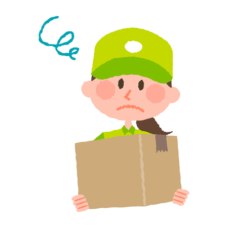 A vector illustration of a delivery woman carrying a cardboard box with a worried facial expression.