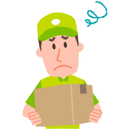 A vector illustration of a delivery man carrying a cardboard box with a worried facial expression.