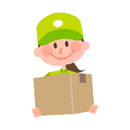 A vector illustration of a delivery woman carrying a cardboard box with a happy facial expression  イラスト・ベクター素材