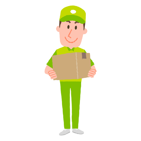 A vector illustration of a delivery man carrying a cardboard box with a happy facial expression Illustration