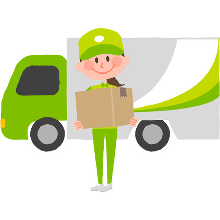 A vector illustration of a smiling delivery woman with a cap carrying a cardboard box behind her is a cargo truck