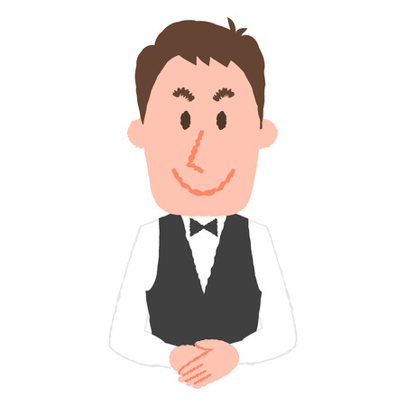 vector illustration of a hotel worker  イラスト・ベクター素材