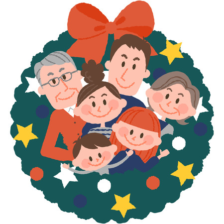 vector illustration of a family with christmas wreath 写真素材 - 85935244