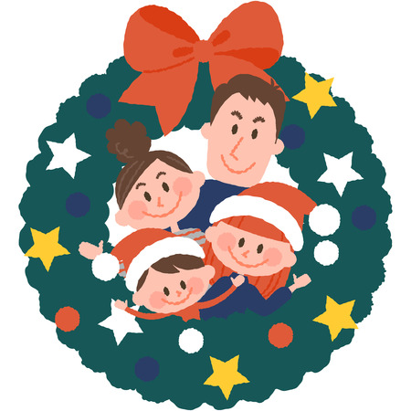 vector illustration of a family with christmas wreath  イラスト・ベクター素材