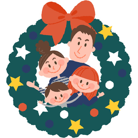 vector illustration of a family with christmas wreath Illustration