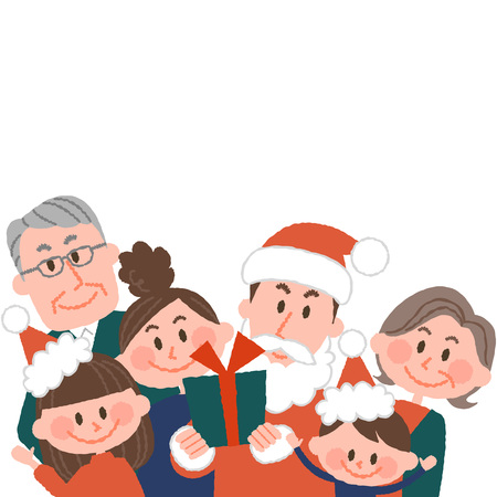 vector illustration of a family having a good Christmas