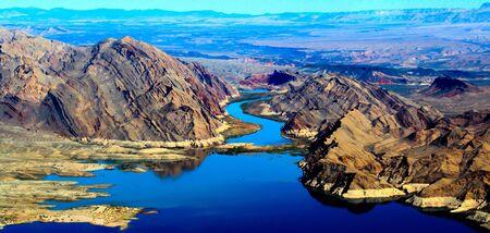 Aerial shot of lake mead Arizona