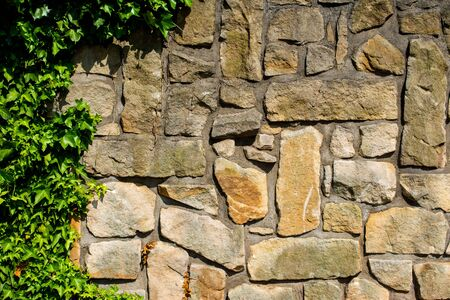 greece granite: massive wall of sandstone blocks overgrown with ivy - texture, background