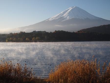 kawaguchi ko: morning haze and Mount Fuji from Lake Kawaguchi