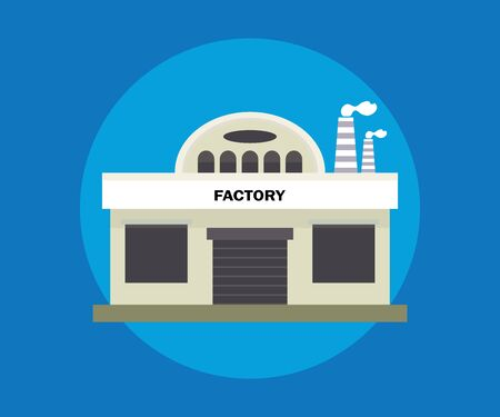 Clip art illustration of small factory building, small storehouse building