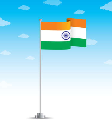 Indian flag having ashoka chakra waving in sky