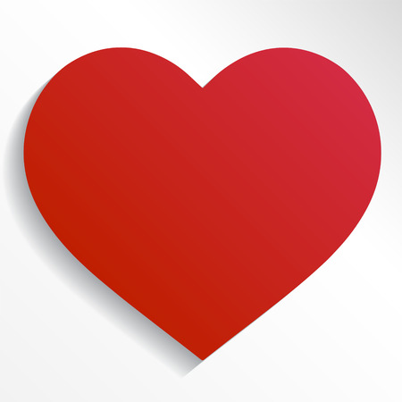White heart on red background vector graphic icon.