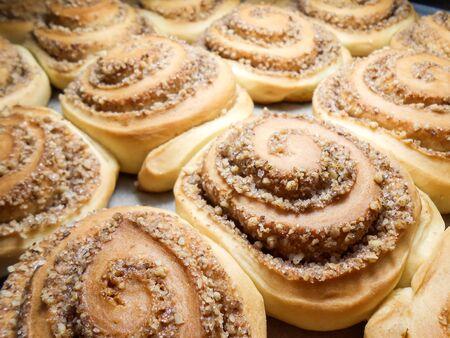 Sweet homemade cinnamon buns. Sweet cinnamon rolls 写真素材