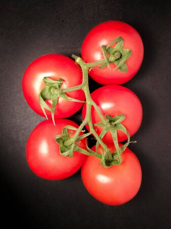 Tomato isolated on a dark background. Bunch of fresh tomatoes 写真素材