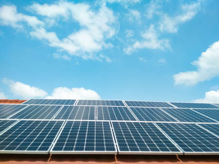 Solar panels against the blue sky. clean green energy concept