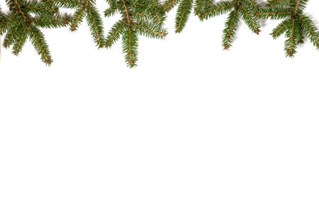 Christmas frame made of fir branches. Flat lay. Archivio Fotografico