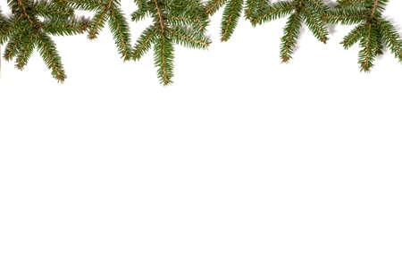 Christmas frame made of fir branches. Flat lay. Reklamní fotografie