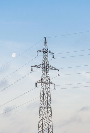 electric current: Power line tower against the sky