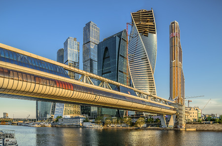 Russia. City of Moscow. Bagration Bridge. Business Center Moscow City. photo