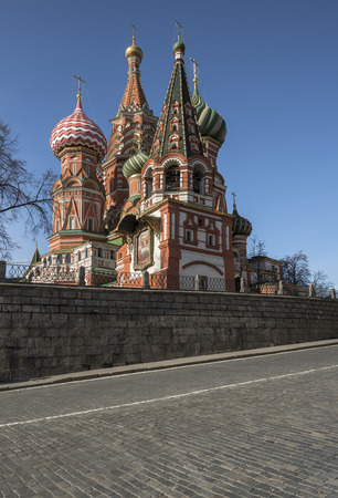 City of Moscow. Russia. March 13, 2015: Cathedral of the Holy Virgin on the Moat, also known as St. Basil