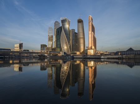 business development: City of Moscow. Russia. March 19, 2015: Business Center Moscow City at sunrise. Editorial