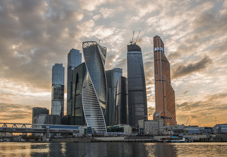City of Moscow. Russia. Business center Moscow-city at sunset. Stock Photo