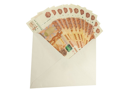 subornation: Russian denominations of 5,000 rubles a white envelope. Isolated image.