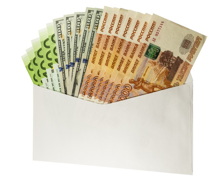 subornation: Denominations of $ 100 and 5,000 rubles a white envelope. Isolated image.