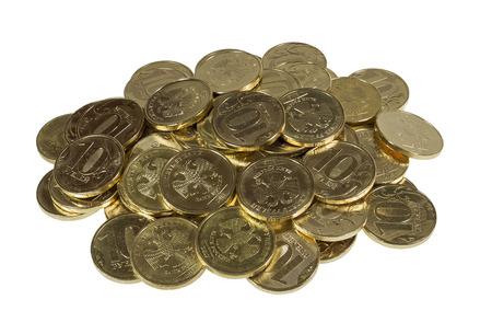 credit union: Placer 10 ruble coins. Image isolated.