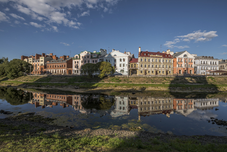 The city of Pskov. Russia. Golden Embankment, a residential area in the historical site of Pskov on the river Pskov. Stock Photo